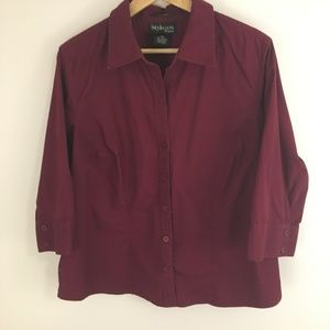 Style & Co Button Up Shirt with 3/4 Sleeve